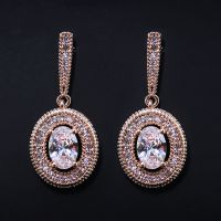 女式耳环镶嵌锆石 环保铜耳饰 饰品工厂厂家直销
