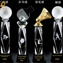 上海水晶羽毛球奖杯,羽毛球比赛纪念品,俱乐部比赛奖杯定制,体育运动员奖品