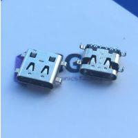 type-c16P母座—90度沉板单排SMT贴片(四脚插板+带定位柱)黑胶
