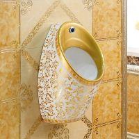 酒店公寓工程陶瓷高档金色壁挂式男士小便斗