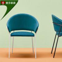 热销墨绿色布艺休闲椅时尚软垫餐椅酒店家具家居餐椅款式新颖定制