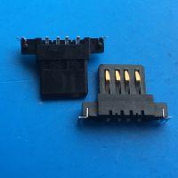 usb2.0 USB连接器母座 AF单胶芯 沉板胶芯定位柱 90度插板 黑胶