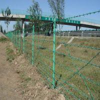 汉阳江滩刺铁丝网护栏 道路两边绿色带刺铁丝网多少钱一米