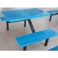 东莞康腾体育专业生产玻璃钢餐桌椅 插伞广告语连体餐桌 六人位连体四人位桌椅
