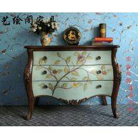 丰贸达厂家直销美式玄关柜斗柜 地中海彩绘做旧装饰柜美式客厅复古蓝色门厅边柜