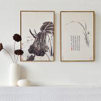 简框装饰画批发 定制新中式客厅书房酒店水墨工笔画 三联墙壁挂