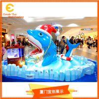 商场海洋DP主题陈列 夏季美陈道具制作厂家 仿真大鲨鱼雕塑