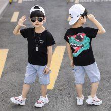 新款夏季韩版童装T恤批发男女童印花纯棉T恤中小童服装批发