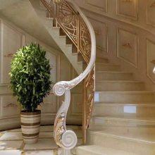 玫瑰金铝艺弧形楼梯栏杆佛山铝艺楼梯扶手厂