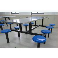 广州学院80套圆凳玻璃钢餐桌椅订做安装完毕、8 人位绿色食堂餐桌康腾体育