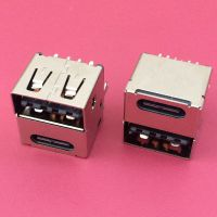 USB母座双面插+TYPE-C双层/180度插板DIP/6PIN+8PIN/L=11.7mm/带弹片