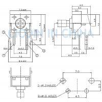sofng TS-1102NT 外形尺寸:6.0mm*6.0mm*7.3mm