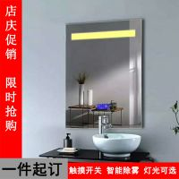 铝合金黑色边框挂墙带时间玻璃镜子LED灯镜壁挂浴室镜洗手间