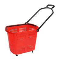 XJL-2 45 L 超市便利店 四轮拉杆手提塑料购物篮 买菜篮子