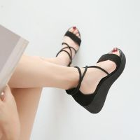 凉鞋女夏季2018新款松糕厚底女鞋百搭坡跟学生韩版中跟绑带罗马鞋