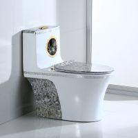 洗手间地面安装一体彩金陶瓷马桶座便器