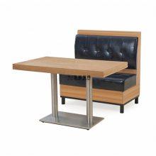 东莞港式餐厅卡座桌子订做,怀旧风板式卡座沙发