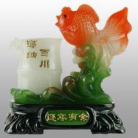 仿玉树脂工艺品 办公商务摆件 鱼 连年有余笔筒工艺摆件FY1044
