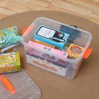 雷力【特小号】优质4.5L家用收纳箱/透明有盖塑料手提密封箱/整理收纳储物箱