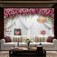 中式墙纸大型壁画水晶立体简约现代田园玫瑰花电视背景墙壁纸丝绸布