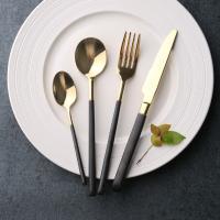 银貂 不锈钢黑柄刀叉更 不锈钢镜光西餐刀叉 拉丝手柄镀金餐具