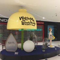 商场中庭玻璃钢伞造型雕塑美陈