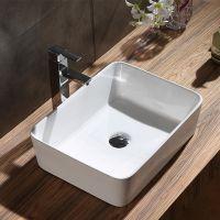 浴室卫生间台上盆方形陶瓷家用酒店工程常用款艺术经典台面安装白色大方简约洗脸盆洗手池