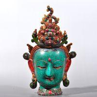 绿松石尼泊尔佛首 观音头像 周鼎青铜器礼品工艺品