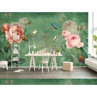 大型3d壁画厂家 美式手绘玫瑰花卉现代客厅电视背景墙墙纸壁纸