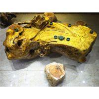 供应平安树黄金樟整体自然边型根雕茶几