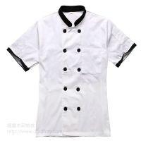 供应东莞塘厦丰采制衣厂家热销白色双排扣厨师服工作服