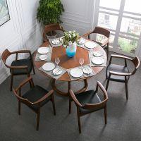 美式客厅实木餐桌铁艺圆形餐桌椅组合餐厅复古酒店酒吧实木圆桌