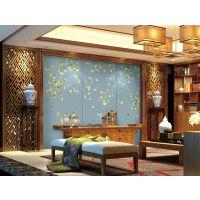 中式艺术硬包背景墙厂家花鸟床头卧室壁画电视背景墙贴杭州厂家