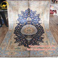 河南博斯地毯蓝色客厅茶几沙发卧室定制波斯桑蚕丝丝毯手工地毯