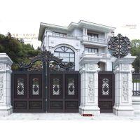 山东亚坤金属铝艺大门护栏,别墅庭院大门护栏,亚坤全铝家居,铝艺扶手凉亭