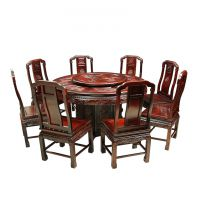 941红木网_古典中式沉贵宝雕花圆台圆桌九件套/十一件套_成套红木桌椅