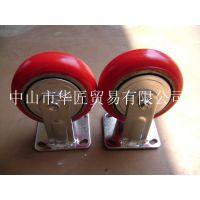 供应MINGZE 固定脚轮超级聚氨酯塑芯双刹(5寸)