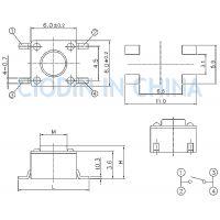 SOFNG TS-1102W 外形尺寸:6.0mm*6.0mm*4.3mm