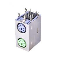 板端连接器 MINI DIN PS2 MD母座6p带字麦 带周期 上绿下紫 PCB-创粤