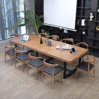 简约铁艺实木办公桌 职员电脑桌大班桌老板桌办公会议桌椅组合