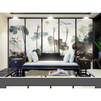 大型3d新中式水墨山水国画电视背景墙装饰画 酒店壁画批发 无缝壁画批发 墙布批发