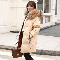 2018新款时尚韩版气质白鸭绒纯白外套宽松大码女装中长款羽绒服