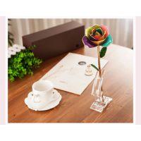 黛雅DAYA ROSE 玫瑰花礼品烤漆玫瑰花 13405828471 植物摆件 七彩定制款玫瑰