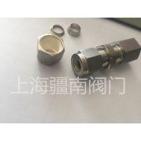 供应卡套螺纹穿板接头 不锈钢硬管使用尺寸3/8-1/8FNPT 上海疆南阀门制造