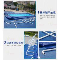 移动水池定制 优质不锈钢支架游泳池 大型移动水上乐园充气戏水池