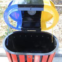 三色钢木垃圾桶 小区分类果皮箱 市政大号垃圾筒 厂家批发