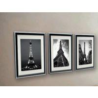 有框装饰画 黑白色欧美现代 三组合装饰画套画 简约复古壁画挂画