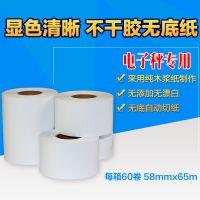 寺冈SM-120电子秤专用无底纸标签打印纸 58mm*65m