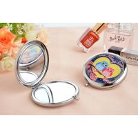 猫头鹰图案滴胶化妆镜双面折叠随身美容镜子定制LOGO二维码 批发
