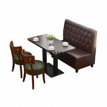 清远奶茶店沙发桌椅,布艺双人扶手卡座沙发桌子